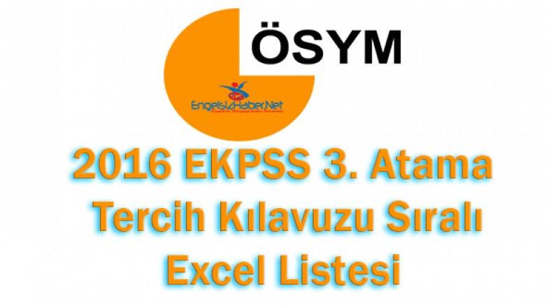 2016 EKPSS 3. Atama Sıralı Tercih Listesi